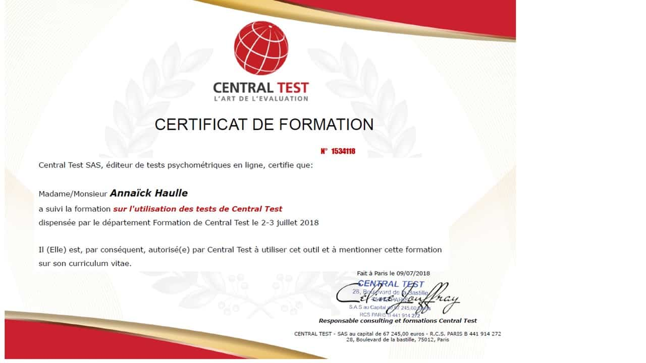 certificat central test