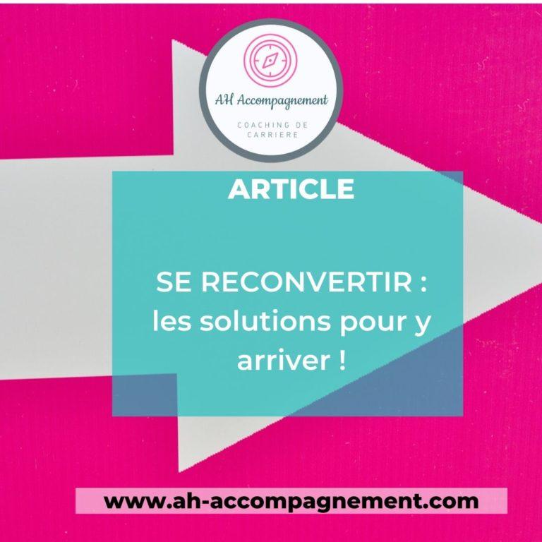 SE RECONVERTIR LES SOLUTIONS ARTICLE